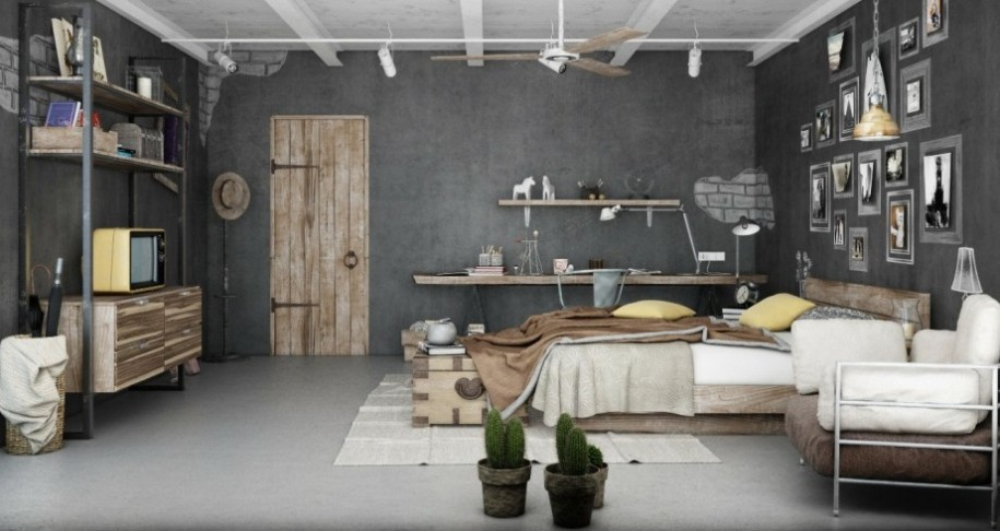Awesome-Bedroom-in-Grey-and-Brown-Industrial-Style